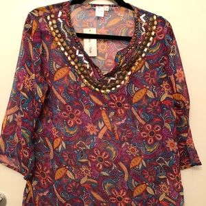 Floral tunic size small NWT